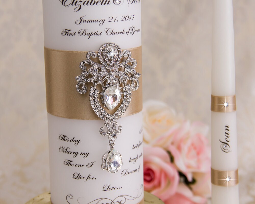 Wedding Unity Candle Set, Candles Personalized Candles, Champagne Custom