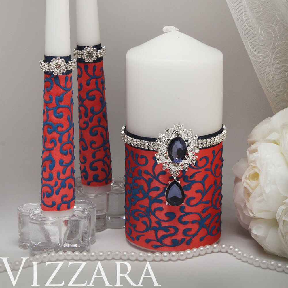 Unity Candles Coral & Navy Wedding Wedding Unity Candle Blue Coral Family Navy
