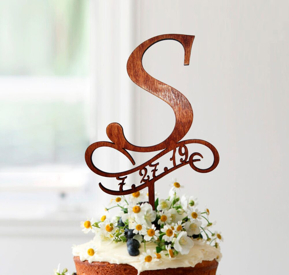 S Cake Topper, Wedding Toppers, Toppers For Wedding, Rustic Topper Wood, Initials Monogram S, #067
