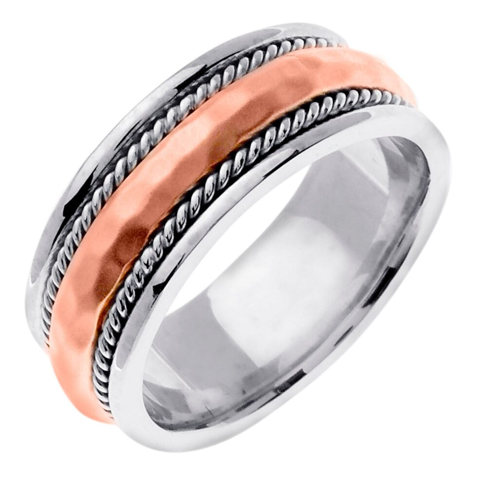 Two Tone Gold Hand Hammered Design, Comfort Fit With Rope Twist, Wedding Band, White Gold, Rose Platinum, 14K/18K/Plt