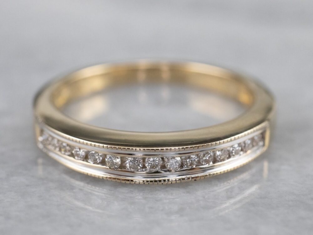 Channel Set Diamond Wedding Band, Two Tone Gold 14K Stacking Anniversary Band 1D4Zx41M
