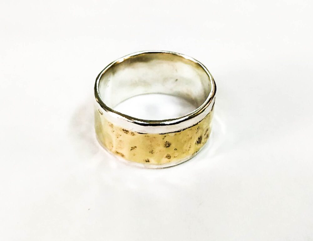 Silver Sterling Wedding Bands 10Mm & A Gold Strip On The Ring 6 Mm Wide - Made To Order Silver Band, Man Ring, Wedding