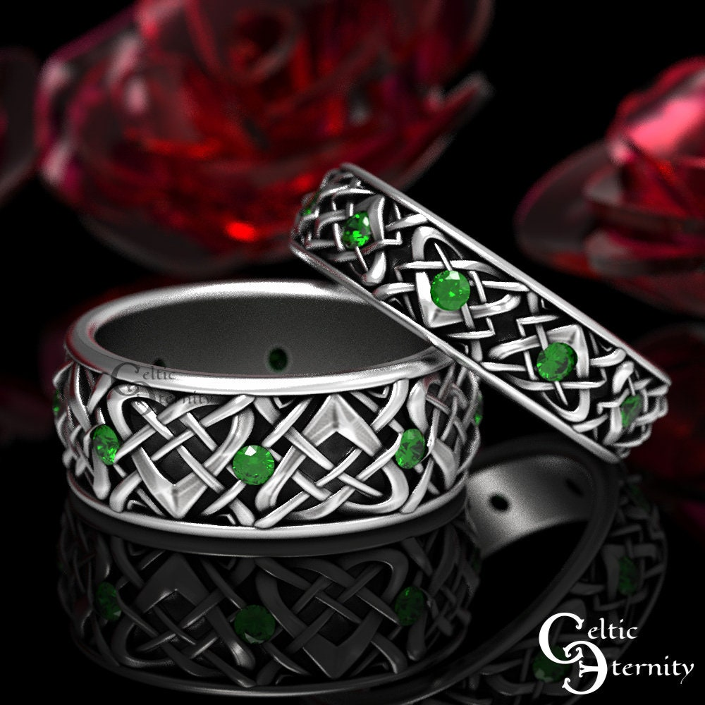 His & Hers Emerald Wedding Rings, Sterling Silver Band Set, Matching Celtic Bands, 1457 + 1459