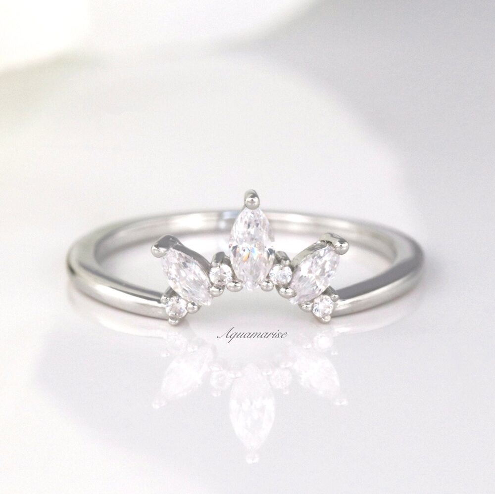 Marquise Diamond Wedding Band - Sterling Silver Band - Crown Ring - Curved Matching Band Gift For Her