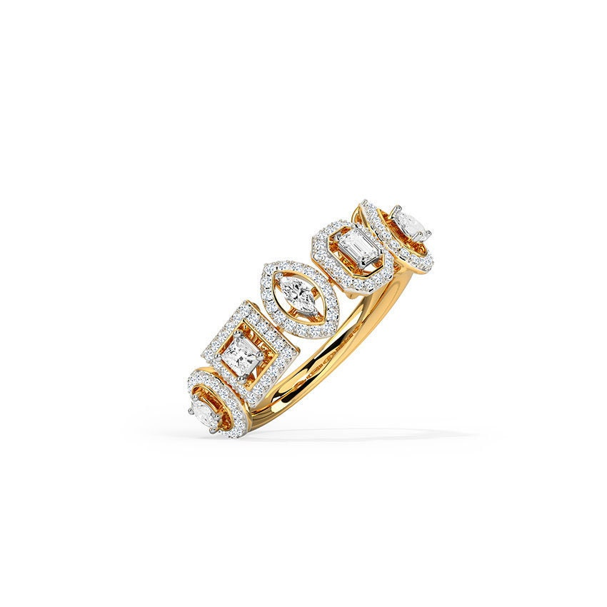Multi-Shape Diamond Wedding Band 14K Yellow Gold & 925 Sterling Silver Band, Stacking Promise Ring