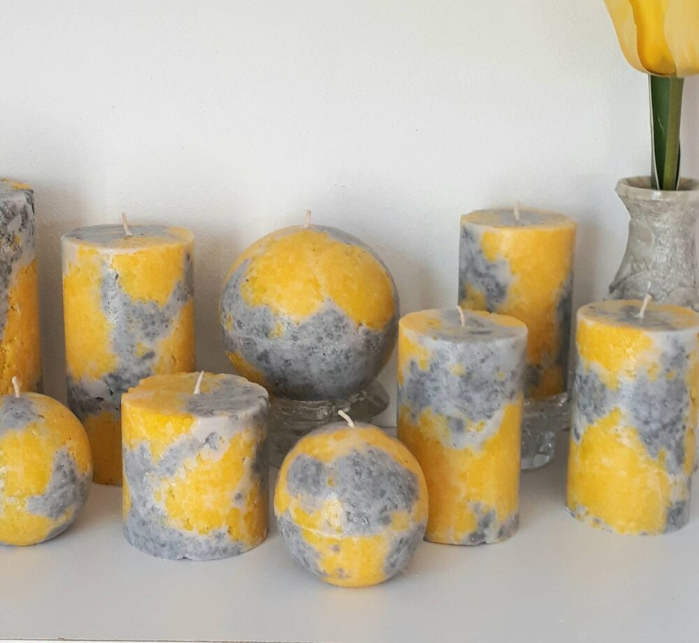 Yellow & Gray Pillar Candles. Decorative Candle For Mindfulness Gift, Or Unique Home Decor