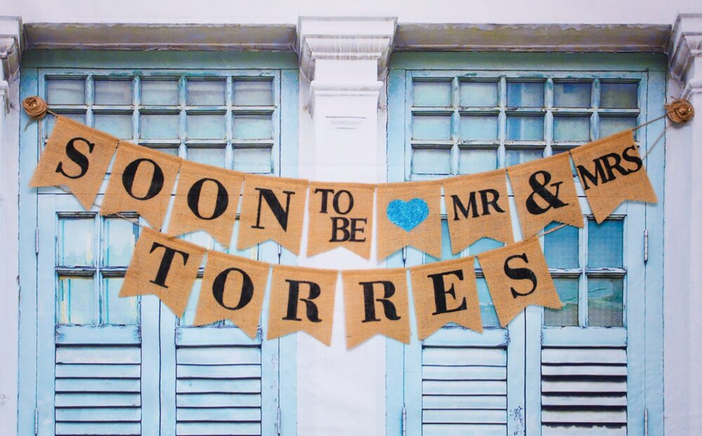 Custom Wedding Banner, Soon To Be Mrs Torres Banner, Soon Burlap Banner, Engagement Party Decor, Engagement Banner, She Said Yes. Named