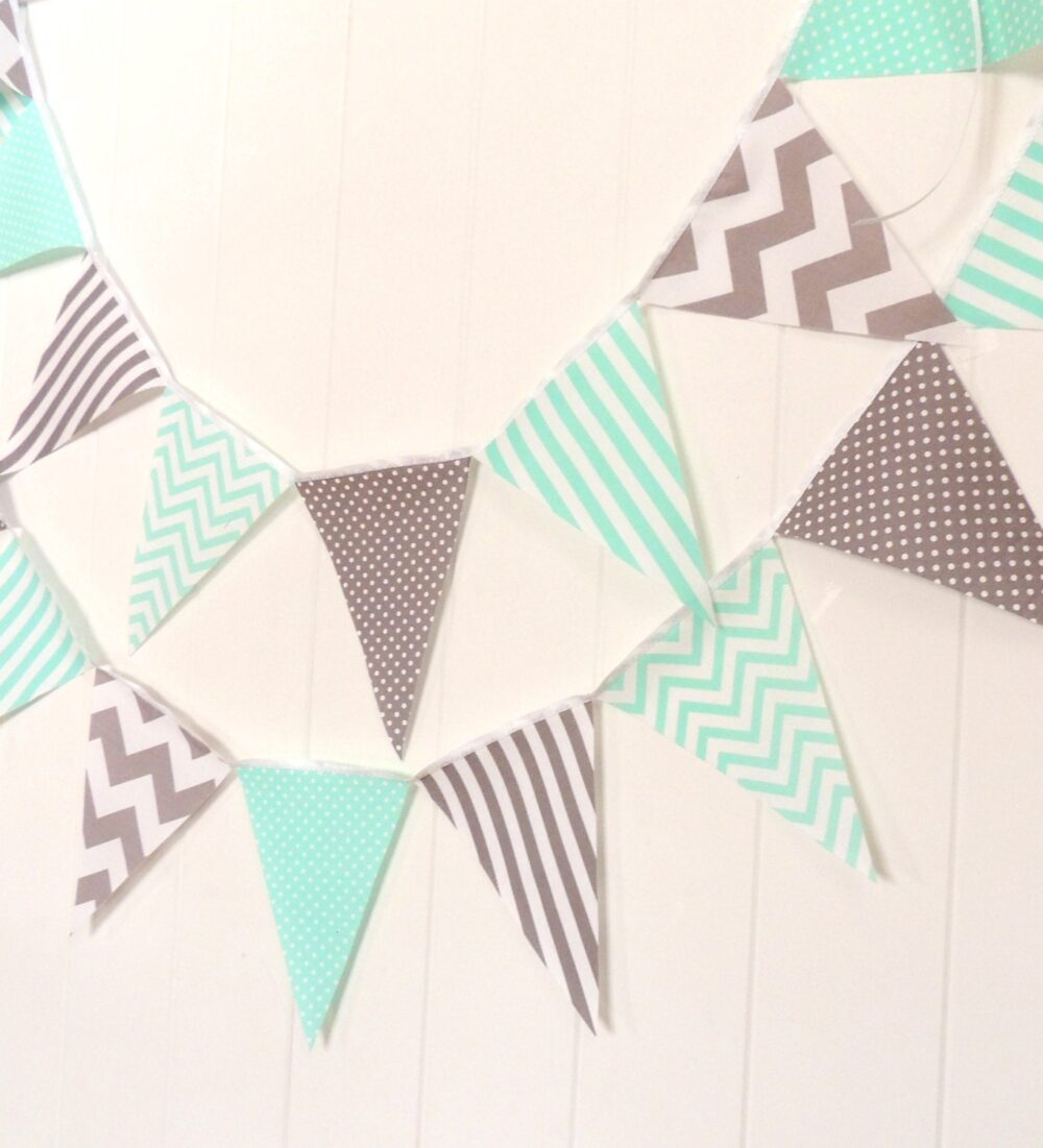Wedding Banner Bunting, Garland Fabric Pennant Flags, Mint, Turquoise Grey, Gray Decor, Baby Nursery Birthday Party