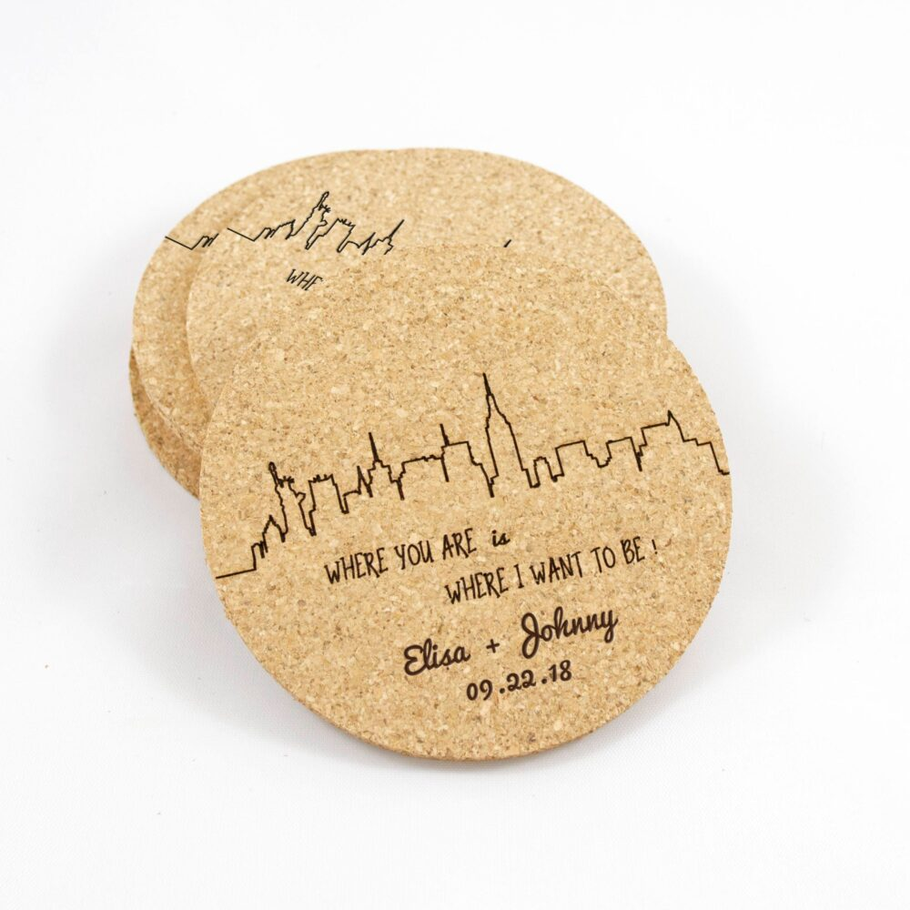 Wedding Favor Coasters - Long Distance Love Bridal Shower City Skyline Anniversary Gift Personalized