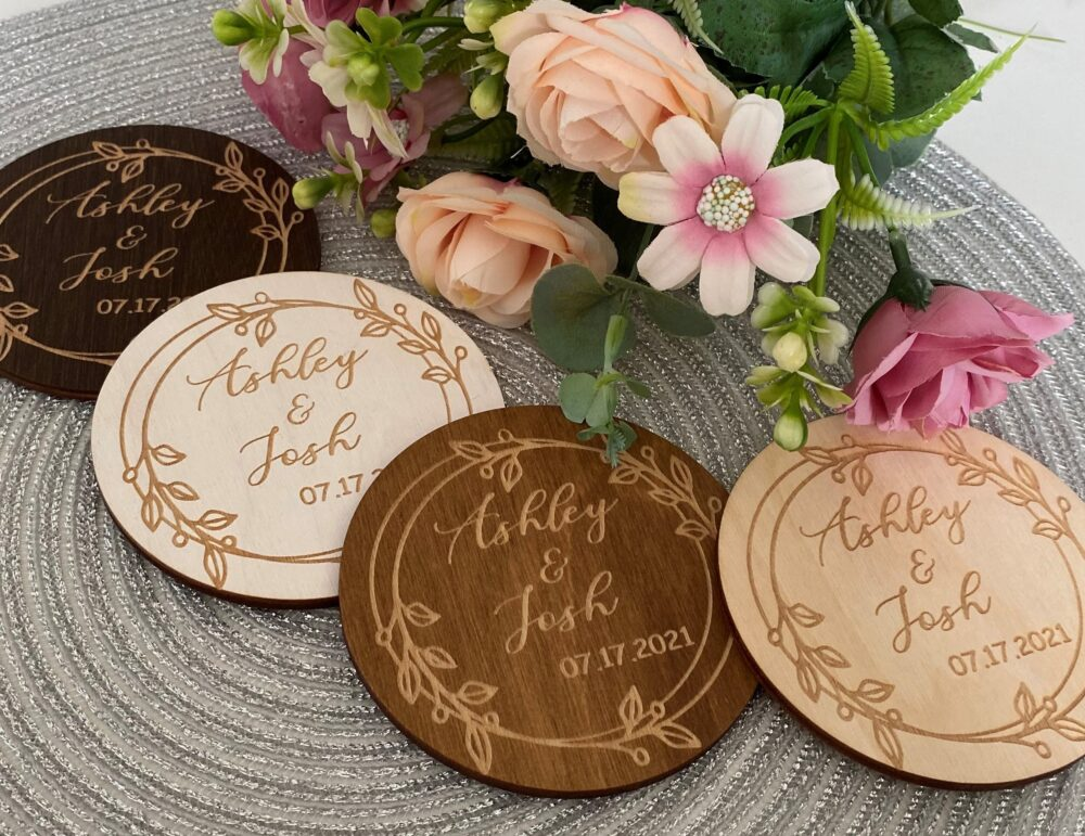 Wedding Favors For Guests, Custom Wooden Coasters, Rustic Wedding Favors, Personalized Coasters