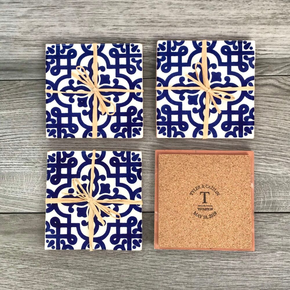 50 Mexican Tile Wedding Favor Coasters Personalized