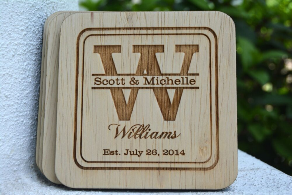 Wedding Favor Coasters, Wood Coasters Favor, Personalized
