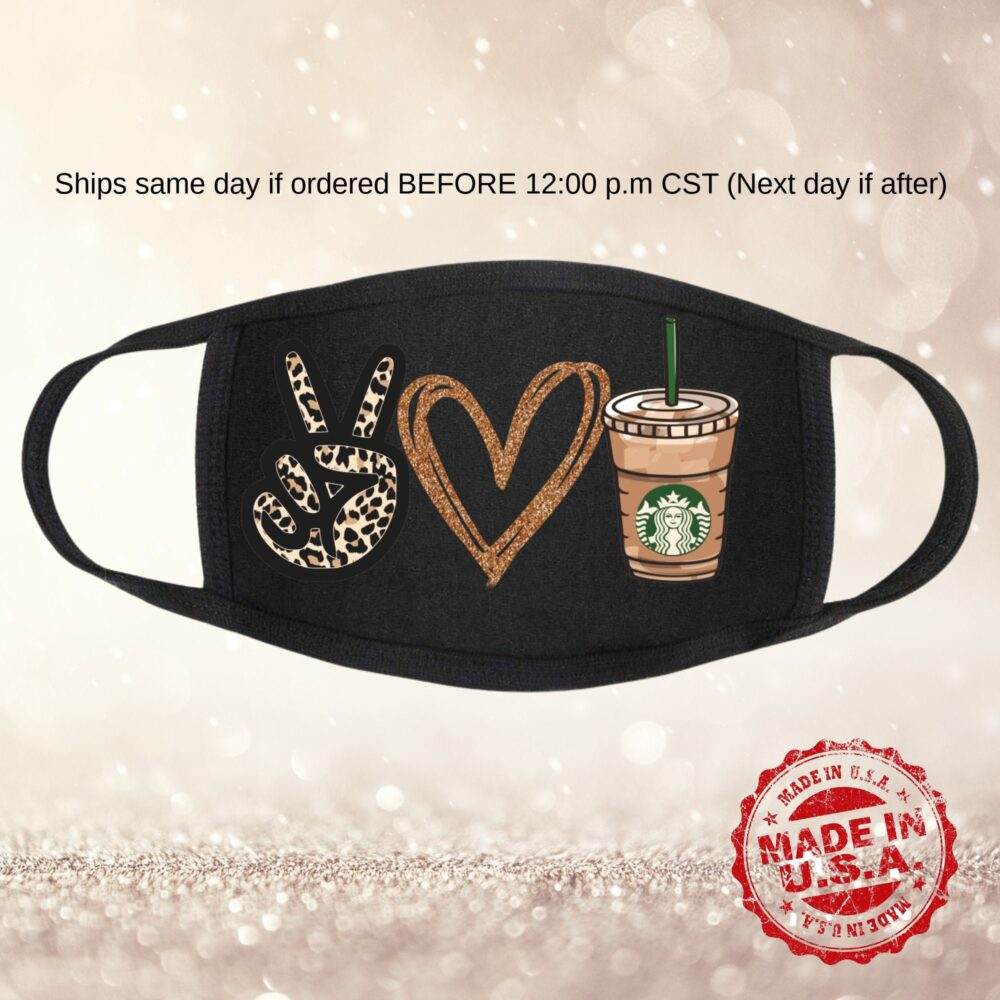 Coffee Mask Peace Coffee Love Face Shield Fashion Spandex Ties All Day Comfort Womens Leopard