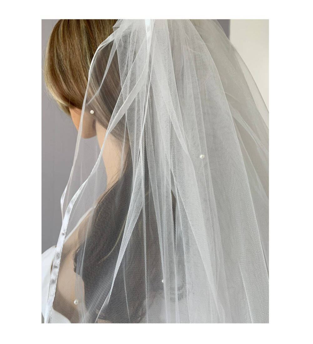 Pearl Wedding 2 Tiered Veil   Bridal Tulle Layer