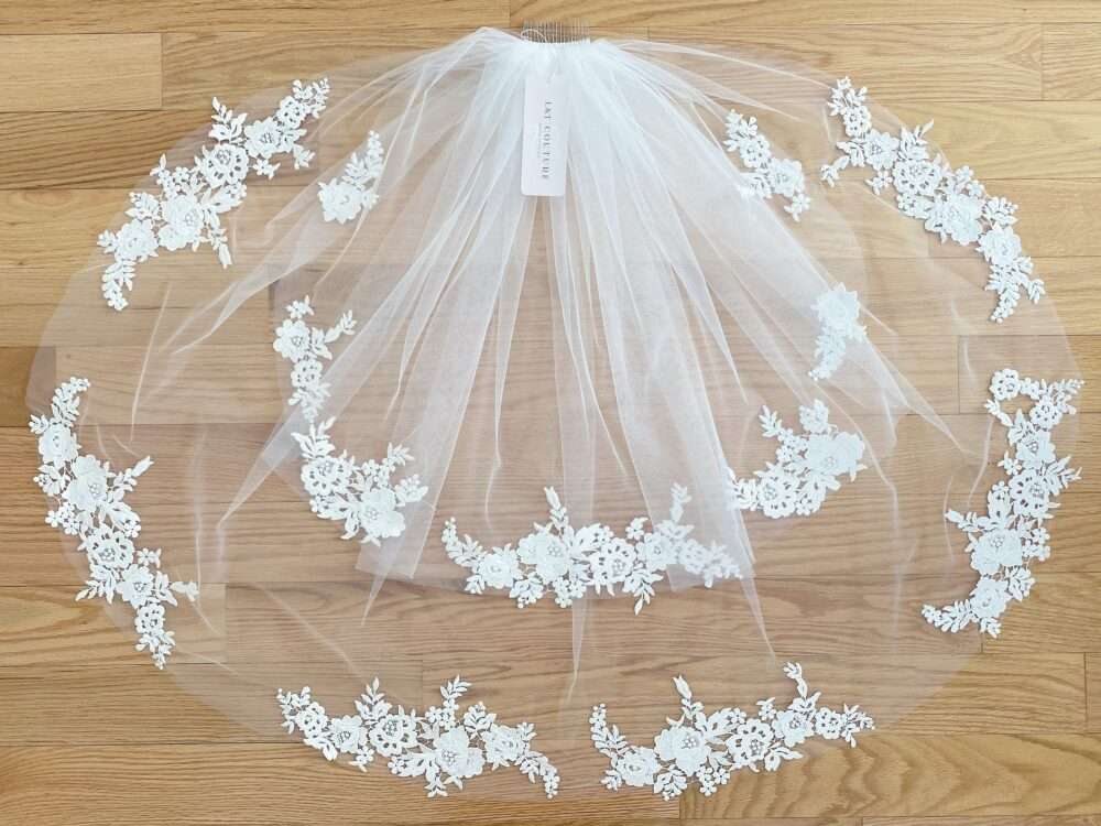 Two Tier Veil With Lace   Elbow Wedding Blossom Flowers Flower Off White Length