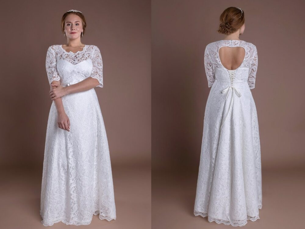 Bohemian Lace Custom Wedding Dress Keyhole Back Guest Plus Size Bridal Gown Homecoming Crepe Modest