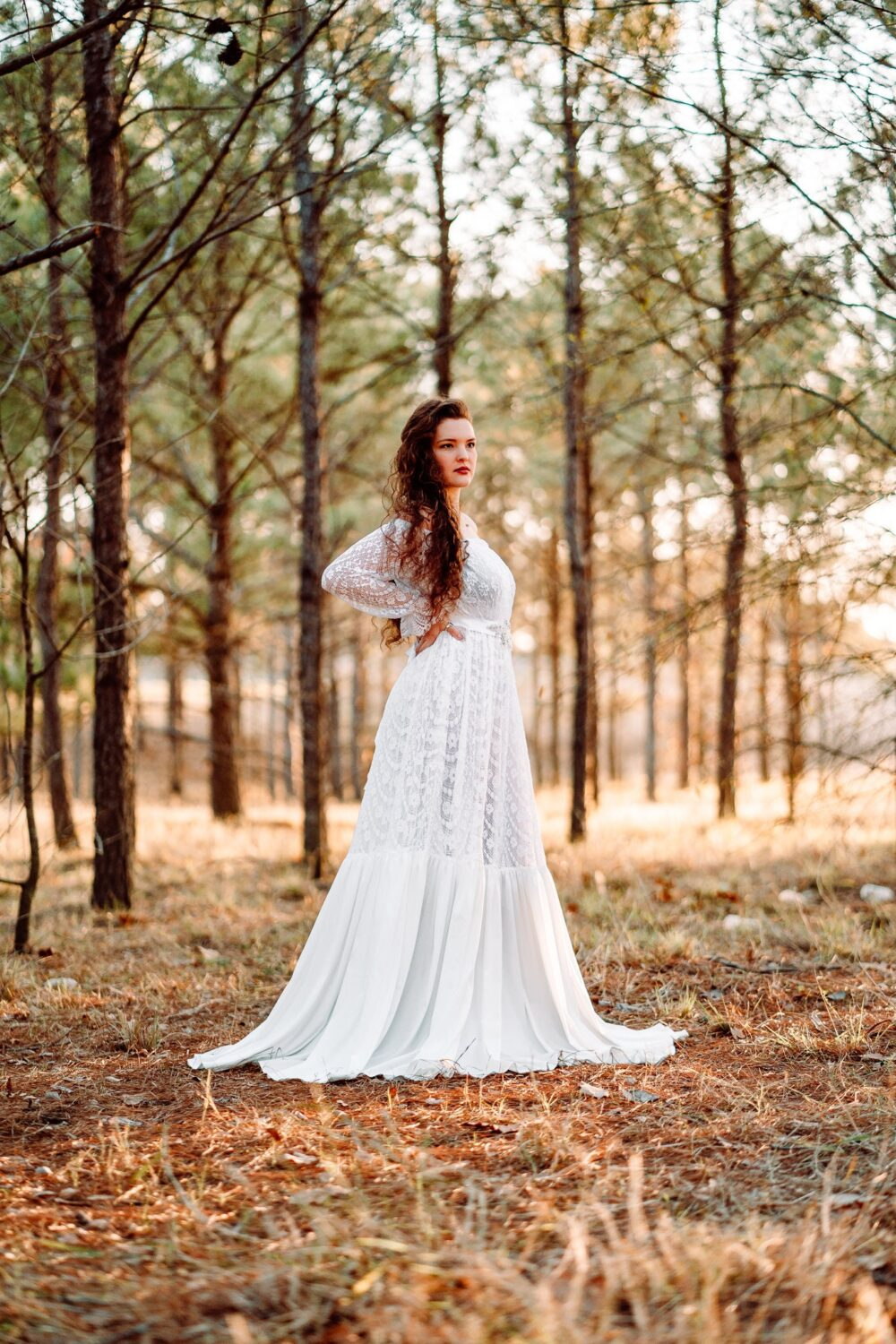 Romantic Lace Elopement Dress | Off Shoulder Plus Size Bridal Gown Boho Princess Wedding Affordable Tall Angelica