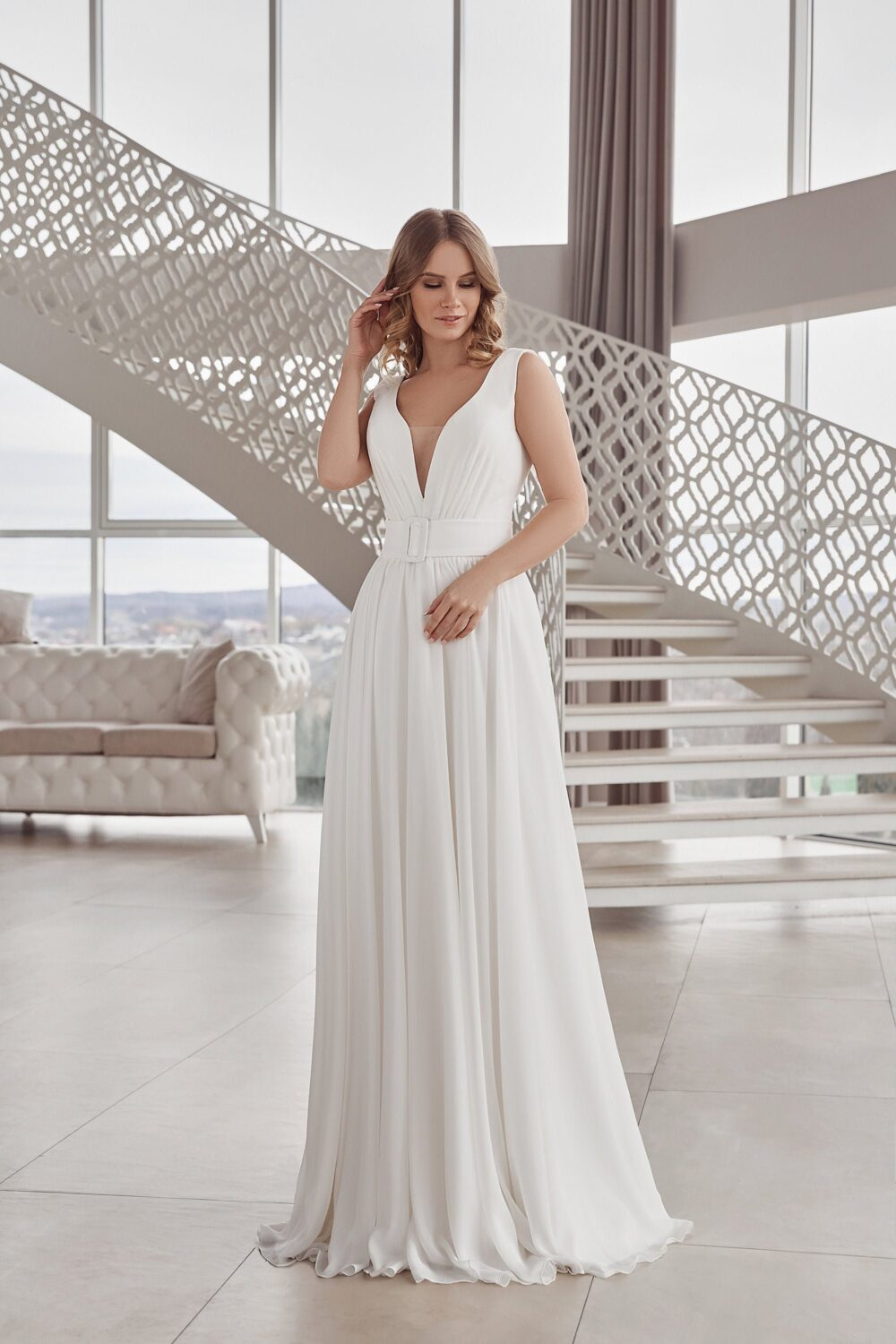 Wedding Dress, Simple Wedding Minimalistic Plus Size Bridal Gown With Open Back