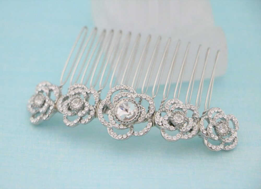 Silver Wedding Hair Comb Crystal Accessories Bridal Rhinestone in Boho Hairpiece Vintage Style Side