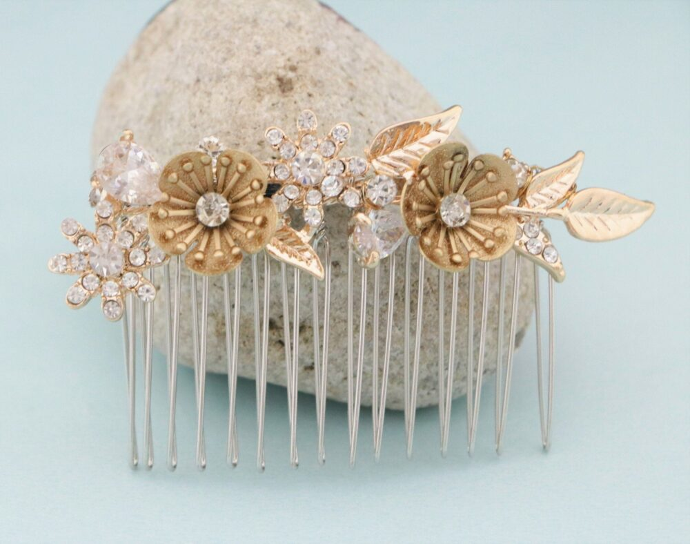 Floral Wedding Hair Accessories Gold Wedding Comb Rose Gold Bridal Crystal in Vintage Style