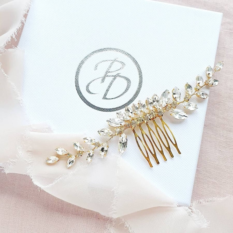 Glamour Rhinestone Wedding Hair Comb, Gold Gold Comb For Brides, Bridal