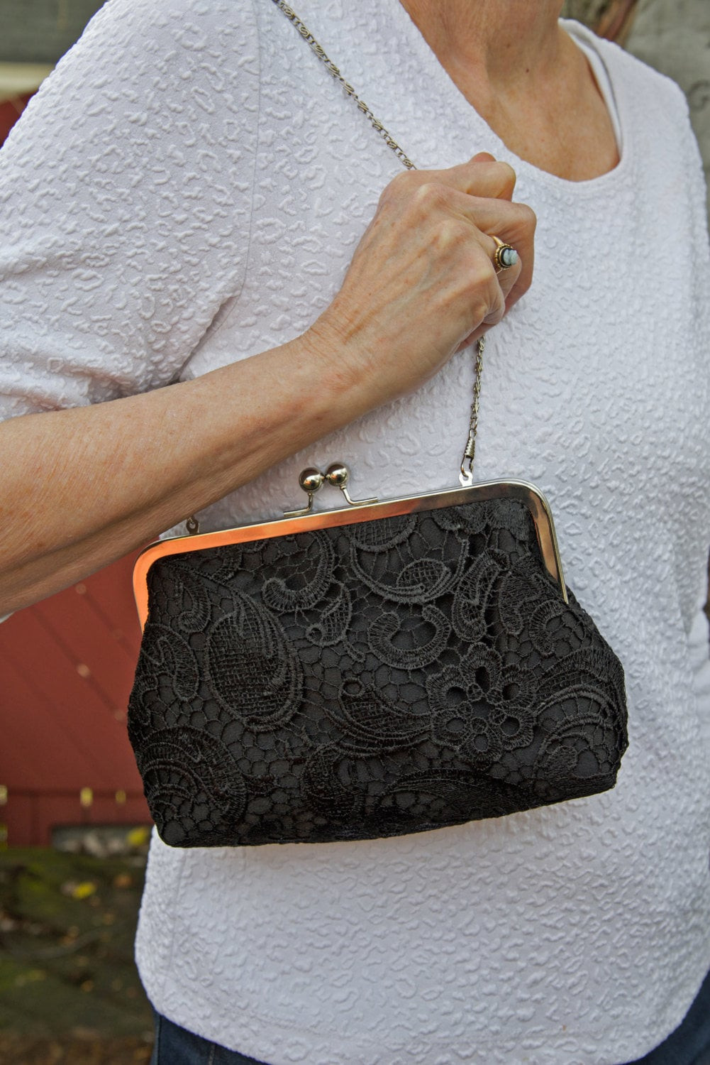 Black Lace Bridal Clutch, Mother Of The Bride Satin Wedding Purse, Bridesmaid Eight Inch Frame