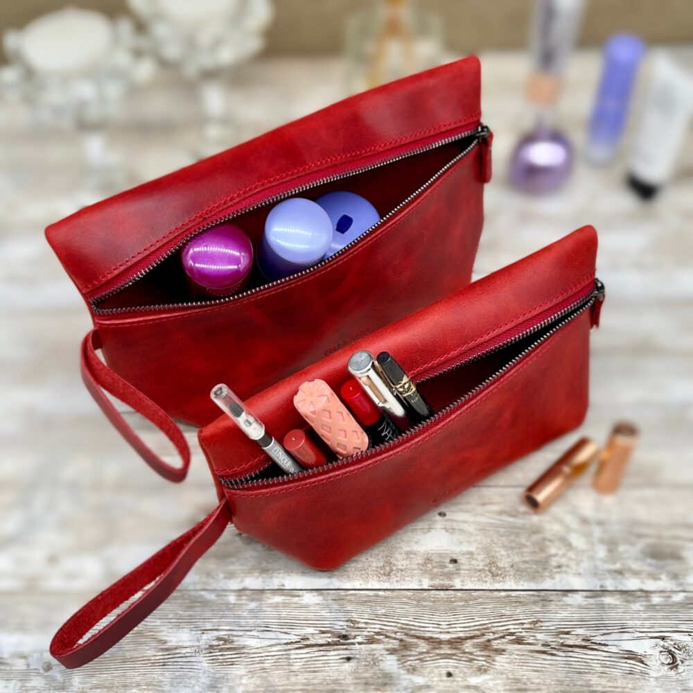Cosmetic Bag | Pouch Make Up Purse Bridesmaid Present Custom Makeup Red Travel Kit