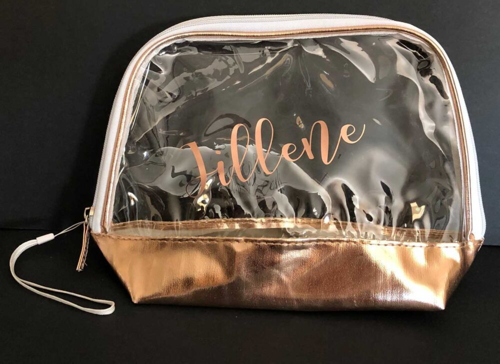 Wedding Party Favor Bag -Clear Vinyl, Rose Gold, Free Shipping, Personalization, Bridesmaids Gift, Bridal Cosmetic Bag