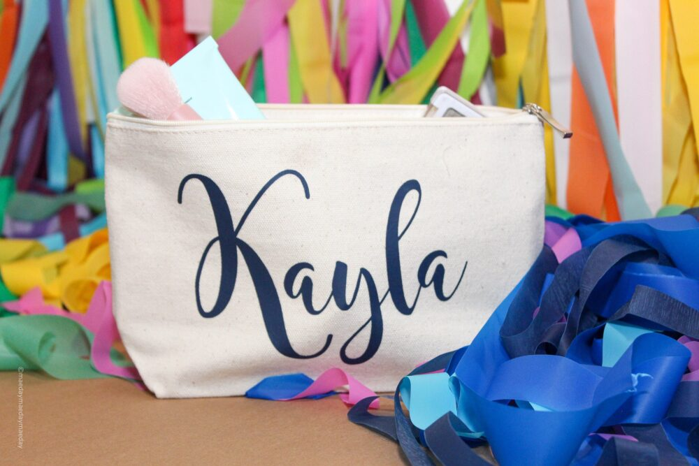 Large Personalized/Custom Makeup Bag |Personalize With Your Custom Text| |Bridal/Bachelorette Party/Wedding Party Favor