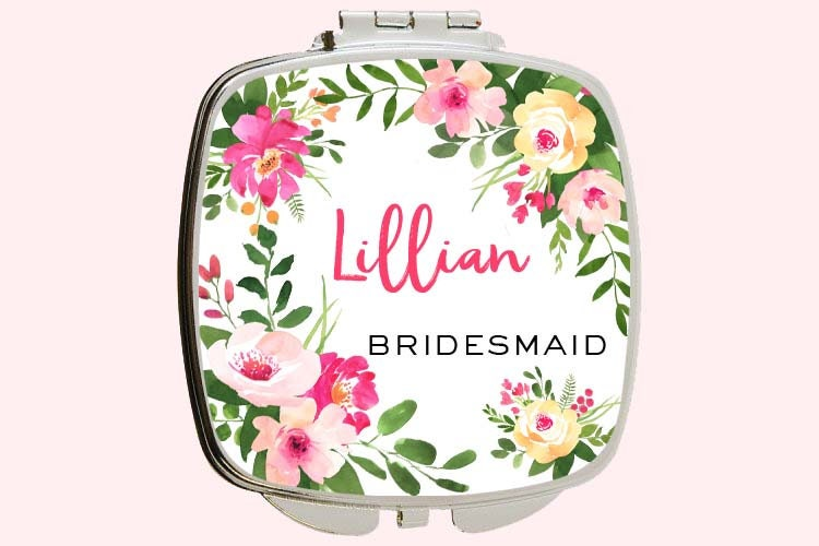 Bridesmaid Compact Mirror Wedding Party Gift For Compact Mirror Personalized Bridal Gift Custom Personalized