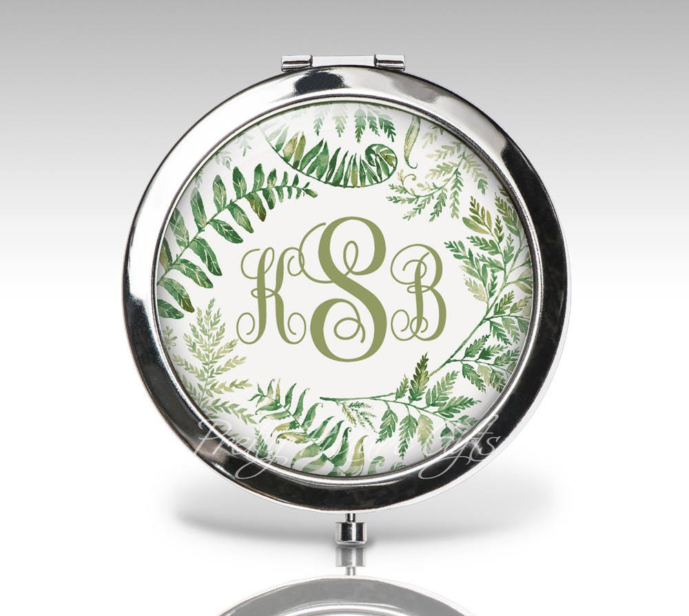 Bridesmaid Compact Mirror, Wedding Gift, Initials With Flowers, Bridal Party Personalized Custom Bride Monogram Mirror C98