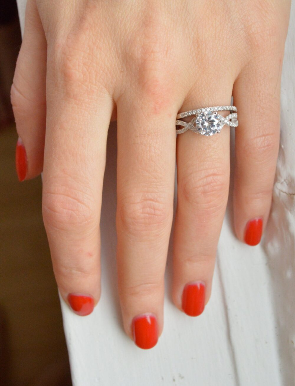 Silver Art Deco Engagement Ring - Cubic Zirconia Promise Cz Solitaire Twisted Band Wedding Set