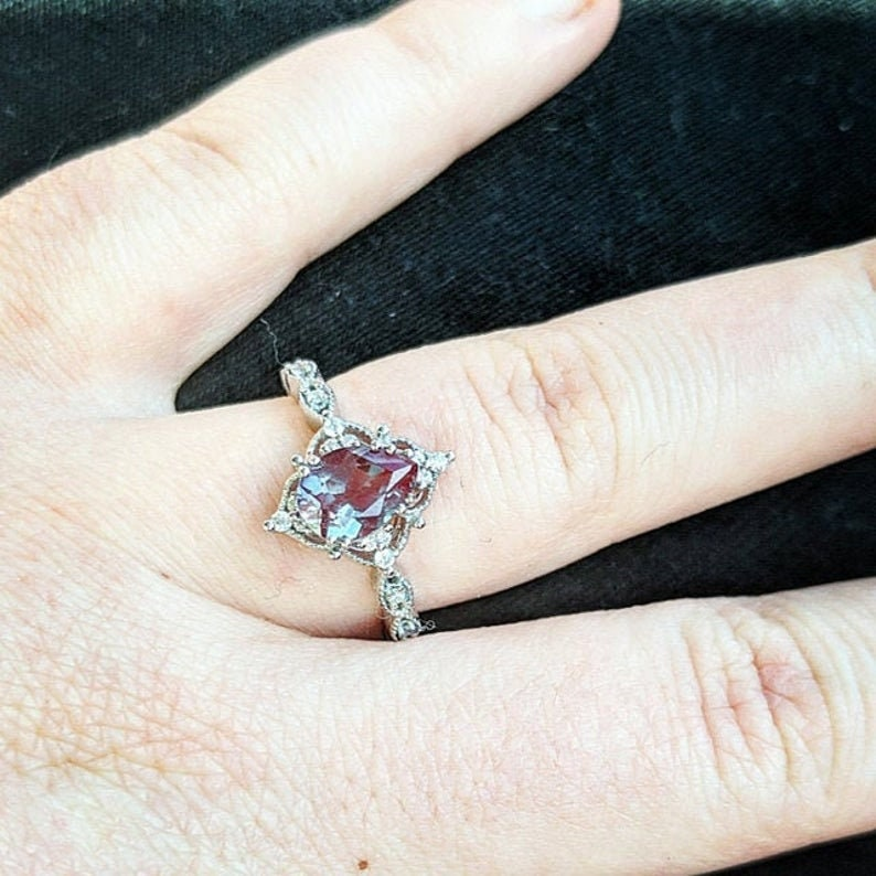 Alexandrite Gemstone Ring For Women  Solid 925 Sterling Silver Ring  Gold Wedding Set Band Engagement Art Deco Anniversary Gifts