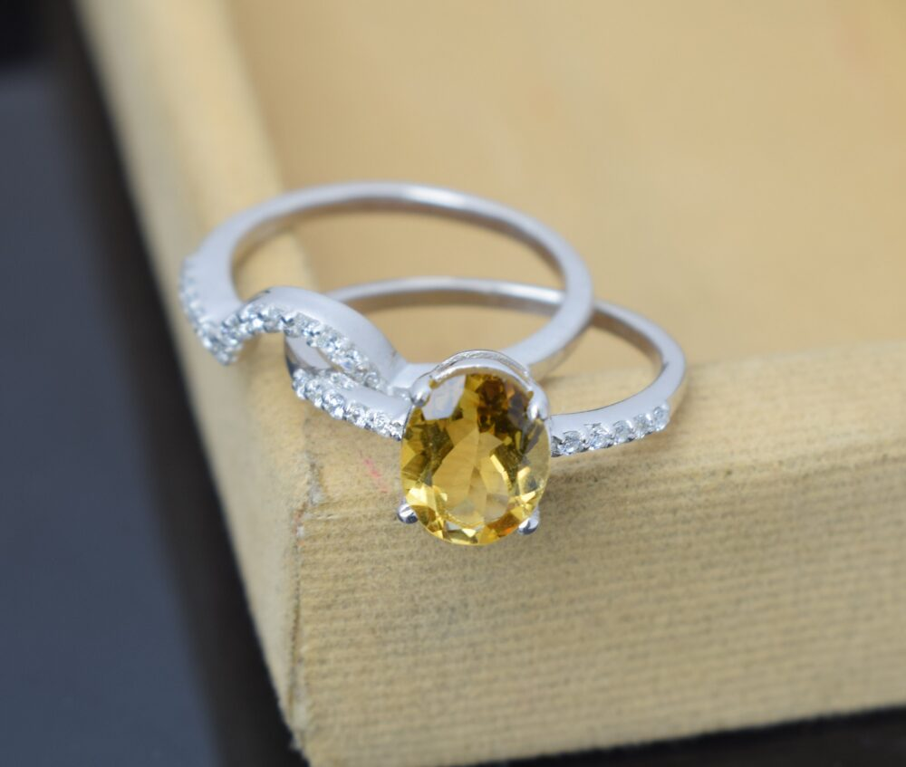 Citrine Bridal Ring Set, Wedding Band Ring, White Gold Plated 925 Sterling Silver, Natural