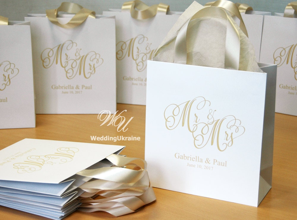 35 Champagne Wedding Welcome Bags With Satin Ribbon & Names - Custom Personalized Paper Gift For Guests Weddings Gifts Favors