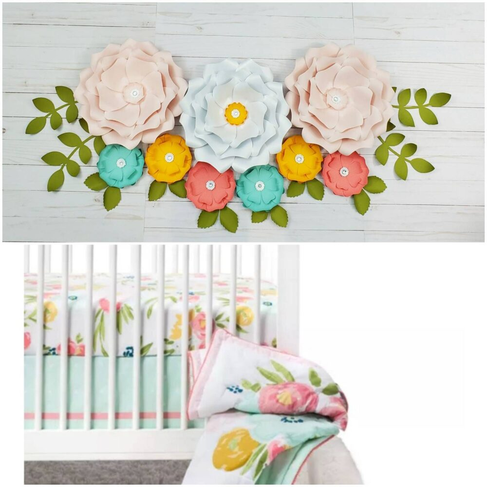 Large Pink, White, Yellow, Coral & Mint Flowers For Nursery Wall Decor Inspired By Floral Field Cloud Island. 3D Paper Flowers