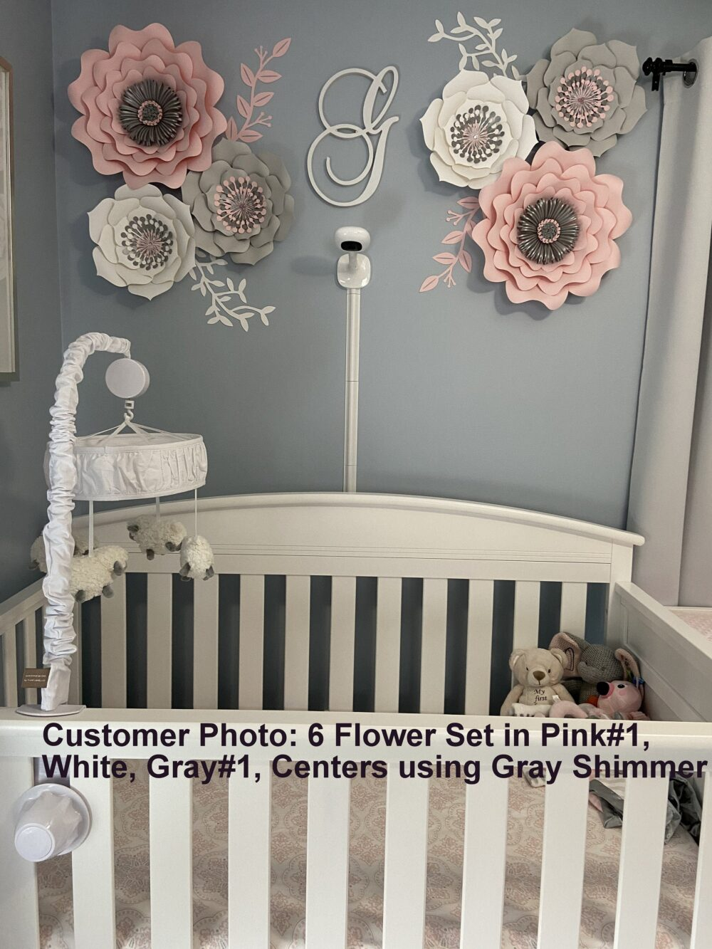 Large Pink Gray Nursery Paper Flowers Set With White & Blush Pink, Custom Colors Available, Wall Decor, Grey Baby Shower Backdrop Decor