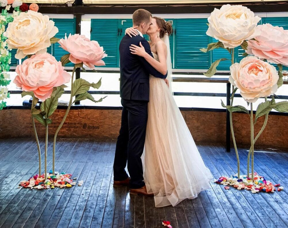 Giant Paper Flowers | Standing Wihs Stem Stand Large Paper Flowers Wedding Decoration