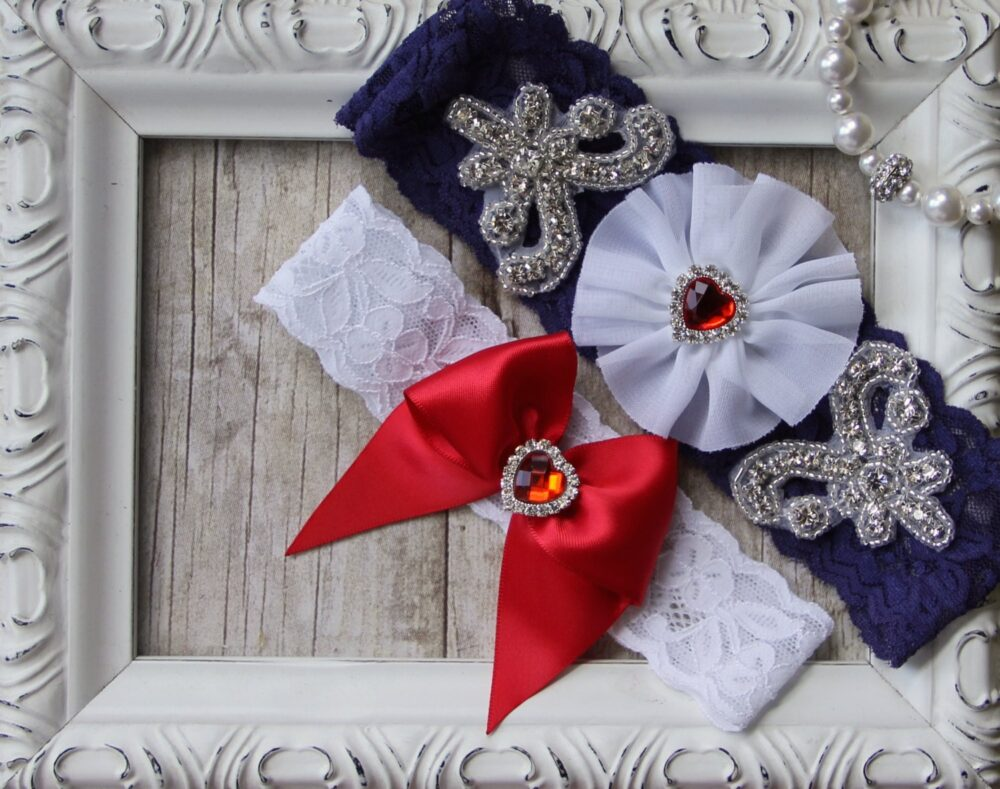 Patriotic Wedding Garter Set, 4Th Of July Garter, Customizable Bridal Set. Several Choices Available. No Slip & Personalized Garters