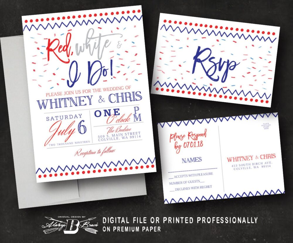 4Th Of July Wedding Invitation Set | Patriotic Invites Independence Day Invite & Rsvp Red White I Do Printed Or Printable