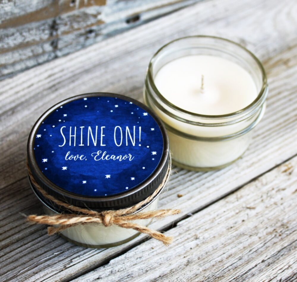 Set Of 12 - 4 Oz Wedding Favor Candle Soy Personalized Favors // Chalkboard Starry Night