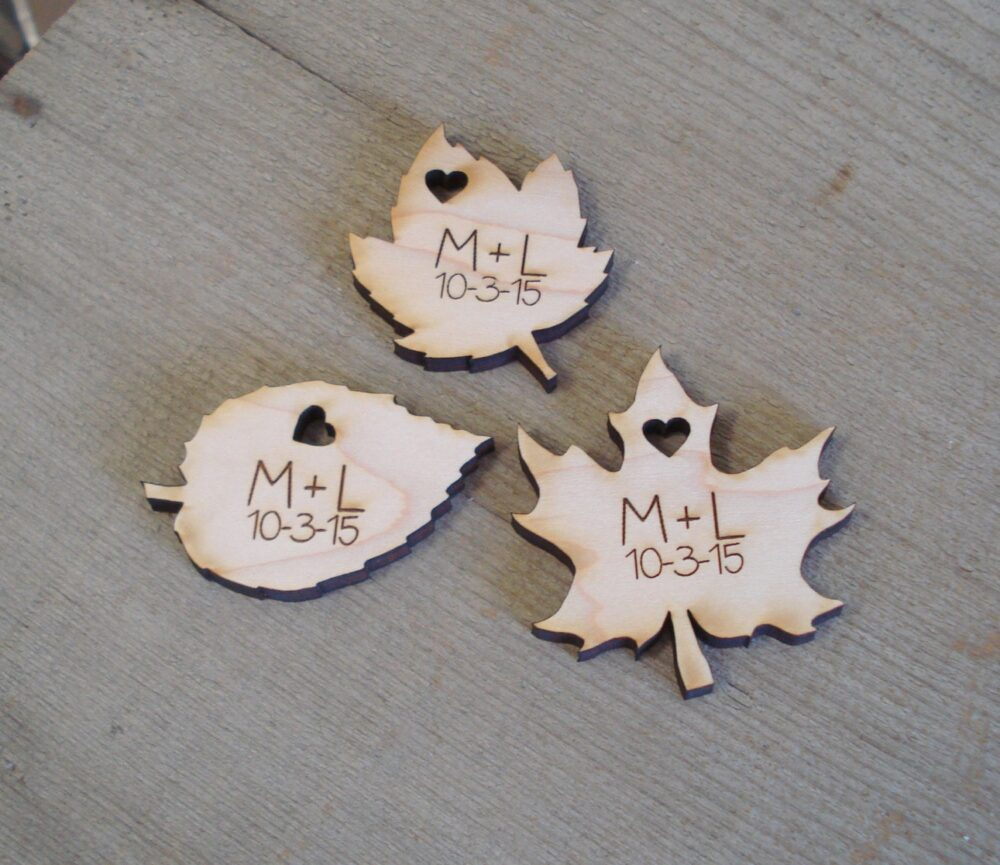 Wood Leaf Wedding Favors Personalized Set Of 100 Fall Spring Leaves