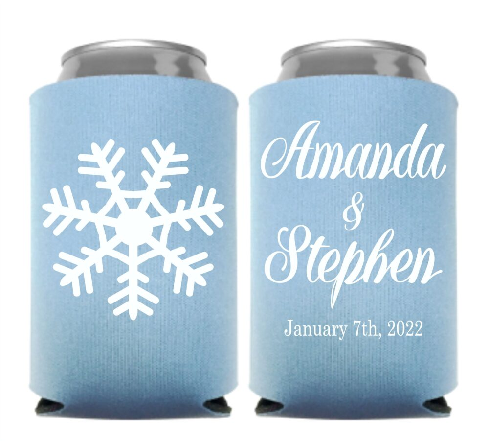 Snowflake Wedding Favor Can Cooler Personalized Winter Theme Favor, Coolers, Custom Snow