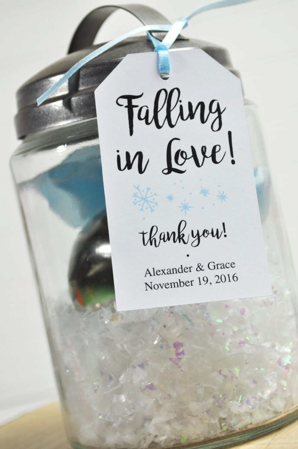 Winter Wedding Favors, Bridal Shower Favor Tags, Snowflake Thank You Party Personalized Favors - Set Of 12