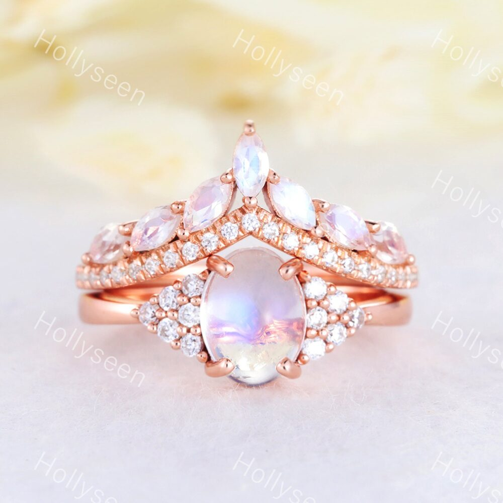 Oval Rainbow Moonstone Bridal Ring Set Cluster Cz Diamond Wedding Marquise Stackable Matching Band 2Pcs Anniversary Gift