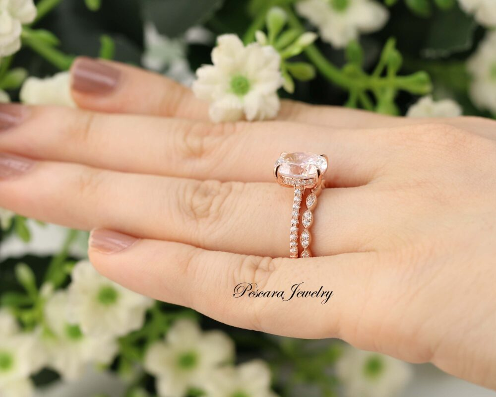 Rose Gold Oval Engagement Ring Set, 3Ct Cut Ring, Marquise Art Deco Half Band, Anniversary Promise Diamond Simuant Cz