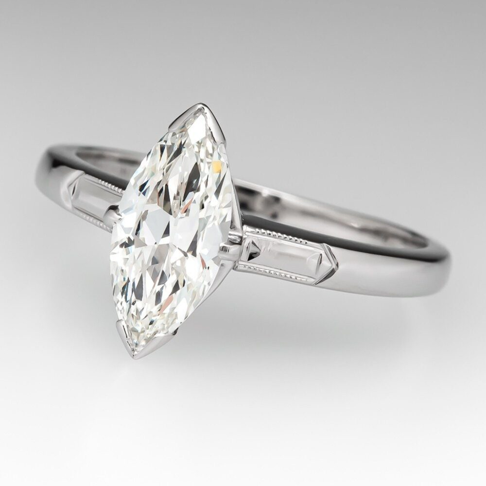 14K White Gold Ring 13x6.5 Mm Marquise Cut Cubic Zirconia Stone Engagement Ring, Antique Style Jewelry, Anniversary Gift, Cz