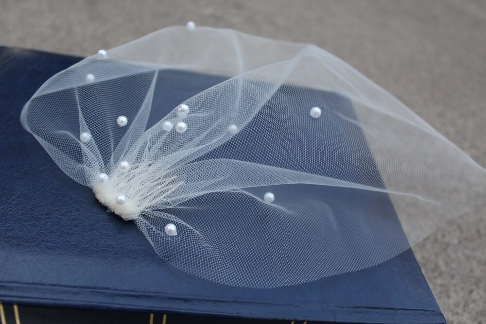 Pearl Blusher Wedding Veil Birdcage For Elopement Short Beaded Bridal Civil Ceremony Light Ivory 1920 Headpiece With Comb