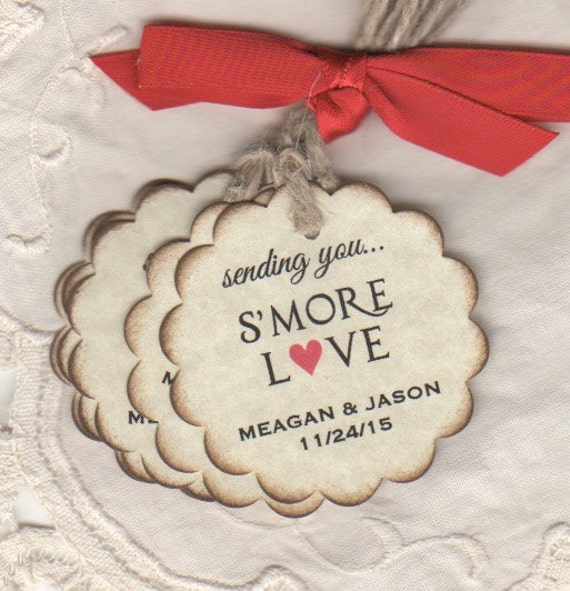 Wedding Favor Tags For Smore Favors, Personalized S'more S'more Love - Rustic Vintage Style Set Of 50