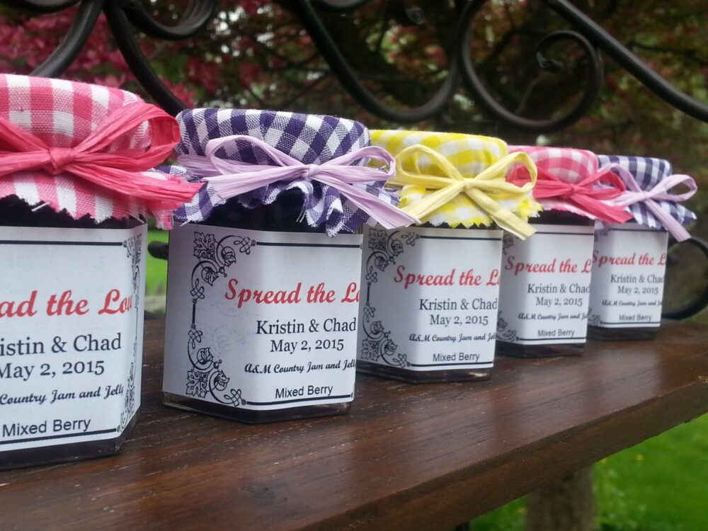 Wedding Favor Jam Jars Spread The Love 50-2 Oz Jars with Choice Of Flavors, Personalized Labels, Summer Fabric Topper & Ribbon